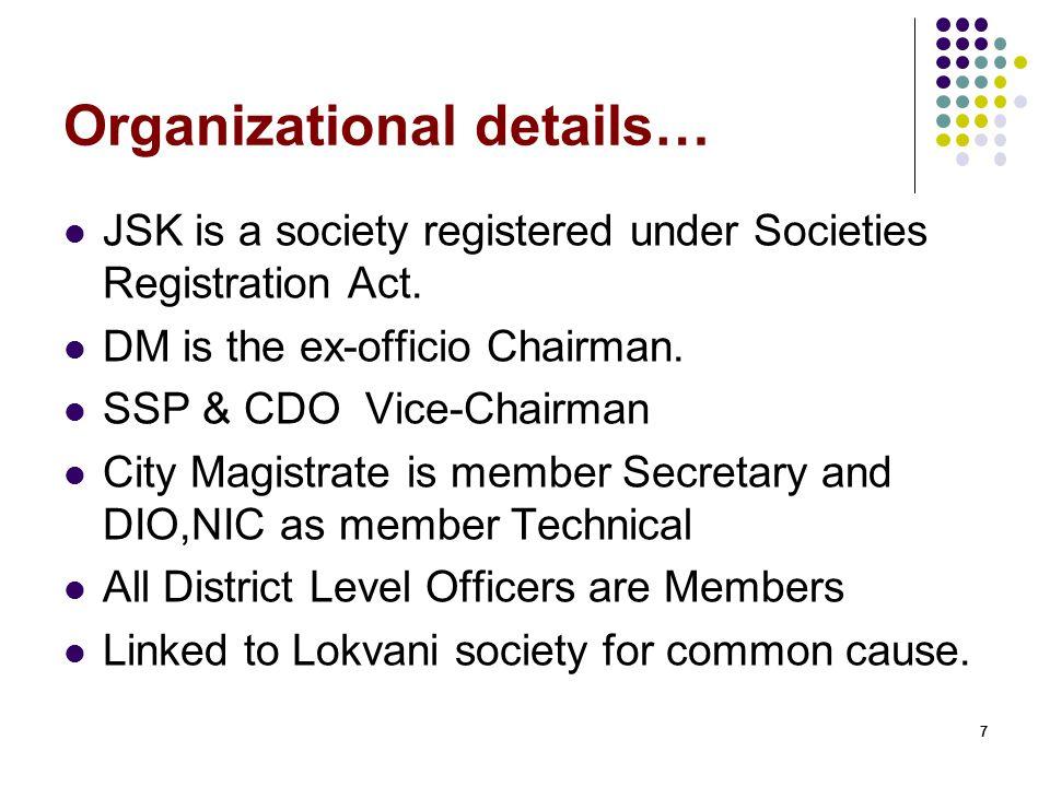 77 Organizational details… JSK is a society registered under Societies Registration Act.