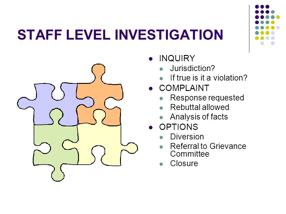 STAFF LEVEL INVESTIGATION INQUIRY Jurisdiction? If true is it a violation? COMPLAINT Response requested Rebuttal allowed Analysis of facts OPTIONS Div