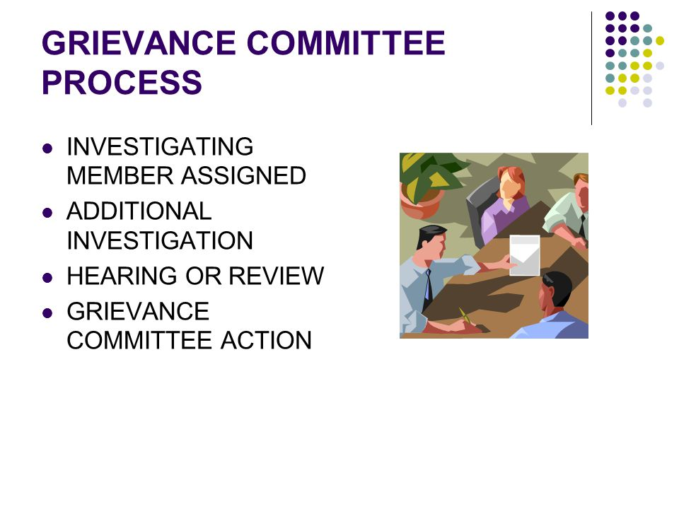 GRIEVANCE COMMITTEE PROCESS INVESTIGATING MEMBER ASSIGNED ADDITIONAL INVESTIGATION HEARING OR REVIEW GRIEVANCE COMMITTEE ACTION