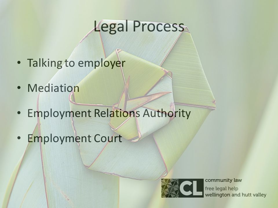 Legal Process Talking to employer Mediation Employment Relations Authority Employment Court