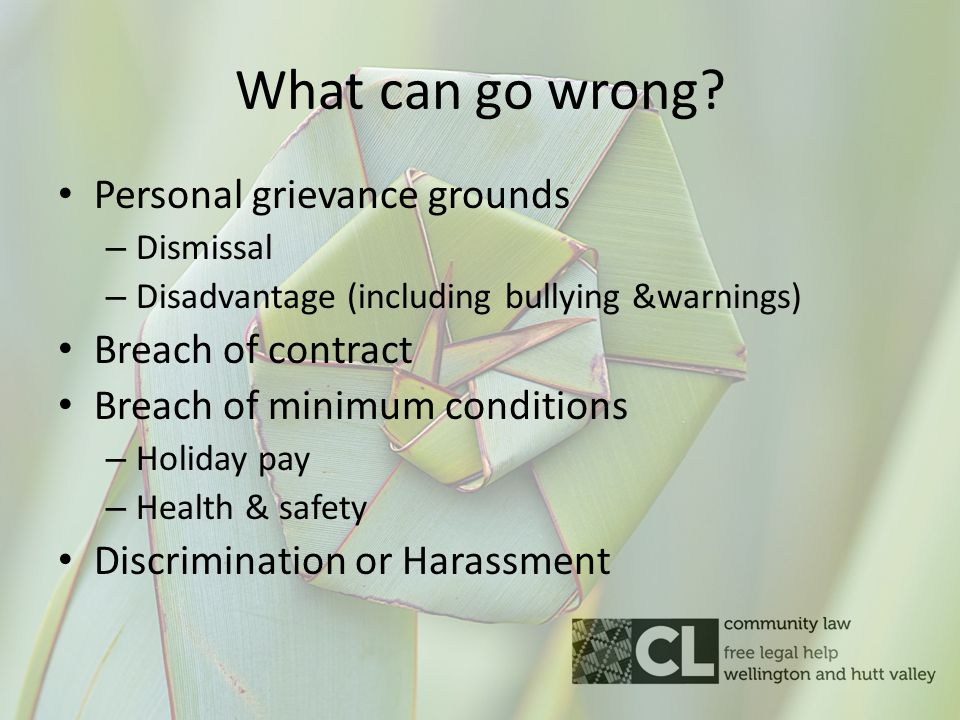 What can go wrong? Personal grievance grounds – Dismissal – Disadvantage (including bullying &warnings) Breach of contract Breach of minimum condition