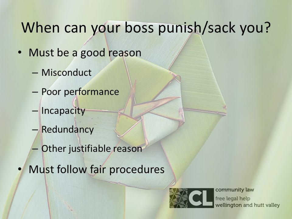 When can your boss punish/sack you.
