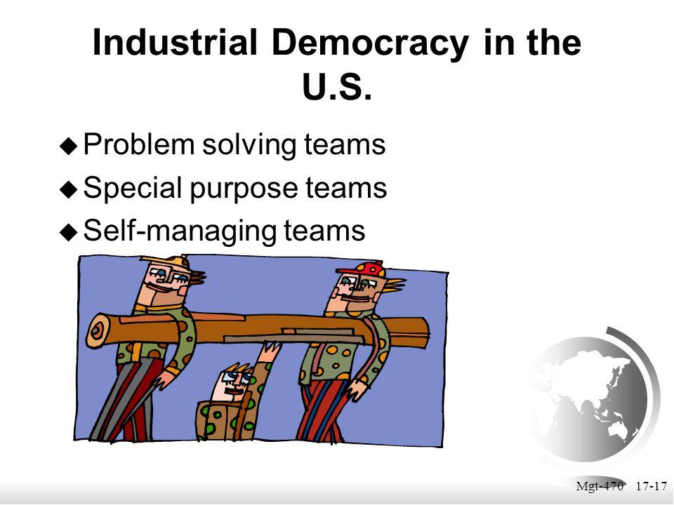 Mgt-470 17-17 Industrial Democracy in the U.S.  Problem solving teams  Special purpose teams  Self-managing teams