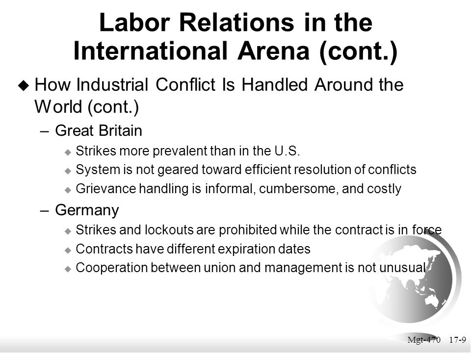 Mgt-470 17-10  How Industrial Conflict Is Handled Around the World (cont.) –Japan  Strikes and lockouts are very rare  Few areas of disagreement between unions and management Labor Relations in the International Arena (cont.)
