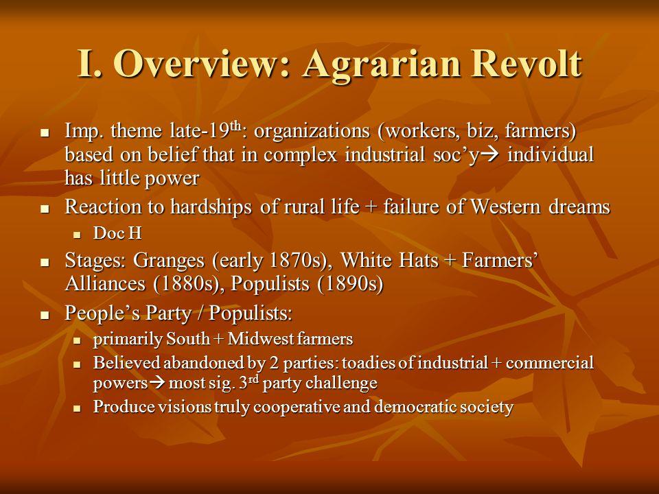 II.Farmers' Alliances A. Organizing Discontent Began social org.