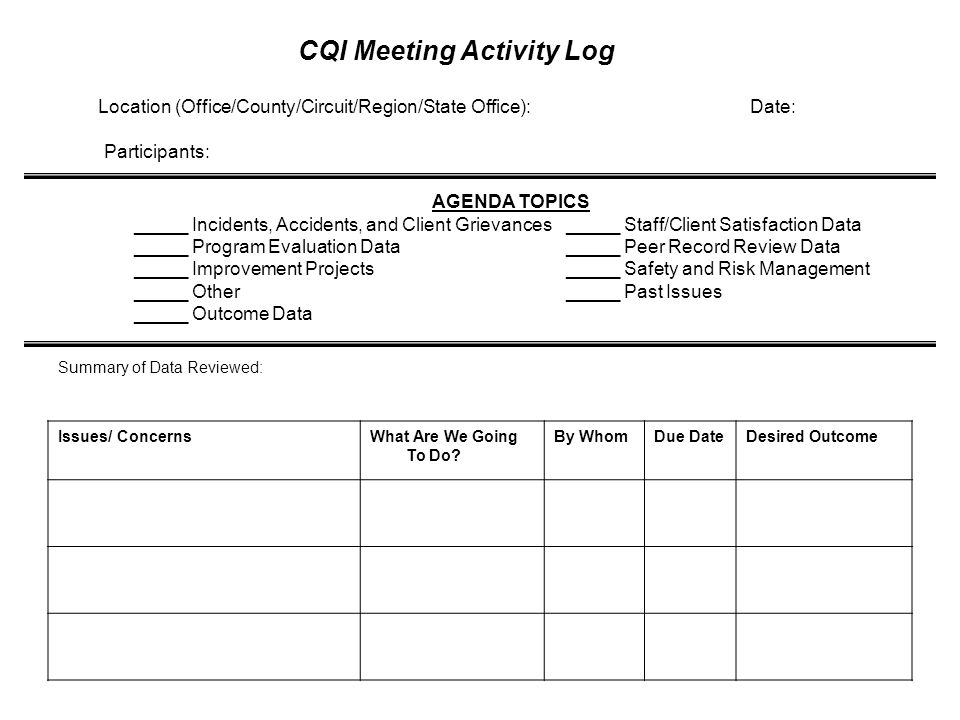 CQI Meeting Agendas Any Service Delivery Issue Any Service Delivery Issue Have an agenda Have an agenda 90 minutes every quarter 90 minutes every quar