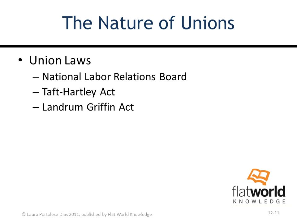 © Laura Portolese Dias 2011, published by Flat World Knowledge The Nature of Unions Union Laws – National Labor Relations Board – Taft-Hartley Act – Landrum Griffin Act 12-11