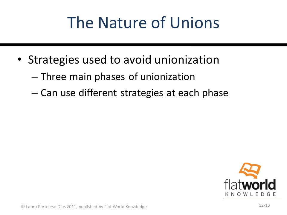 © Laura Portolese Dias 2011, published by Flat World Knowledge The Nature of Unions Strategies used to avoid unionization – Three main phases of unionization – Can use different strategies at each phase 12-13