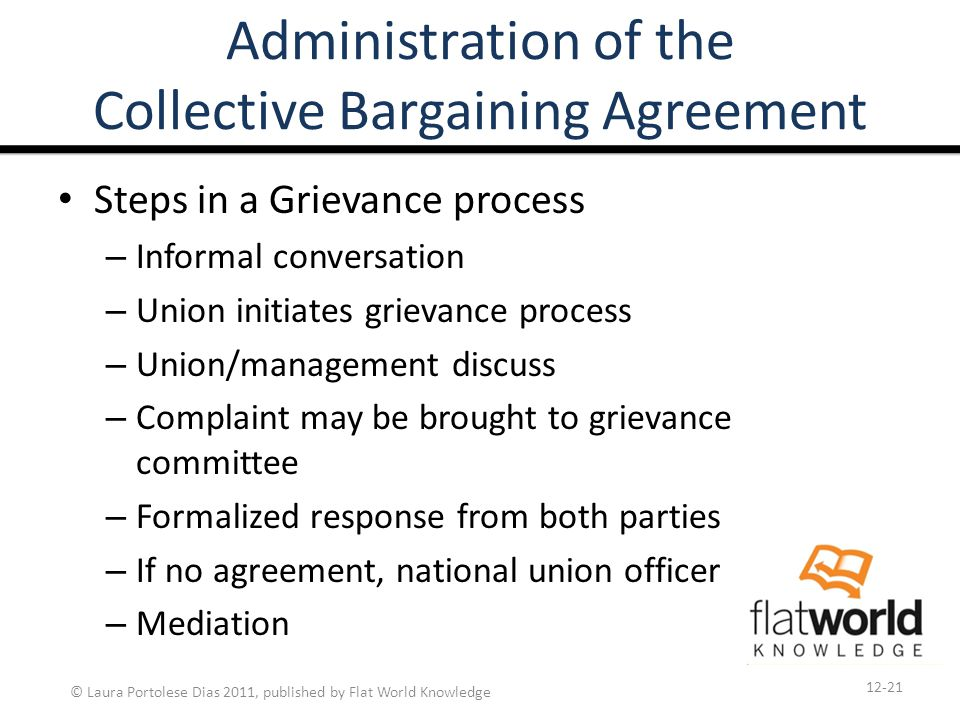 © Laura Portolese Dias 2011, published by Flat World Knowledge Administration of the Collective Bargaining Agreement Steps in a Grievance process – Informal conversation – Union initiates grievance process – Union/management discuss – Complaint may be brought to grievance committee – Formalized response from both parties – If no agreement, national union officer – Mediation 12-21