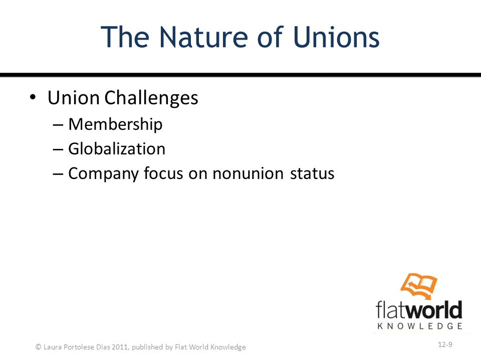 © Laura Portolese Dias 2011, published by Flat World Knowledge The Nature of Unions Union Challenges – Membership – Globalization – Company focus on nonunion status 12-9