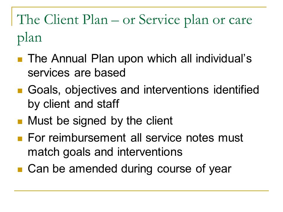 The Client Plan – or Service plan or care plan The Annual Plan upon which all individual's services are based Goals, objectives and interventions iden