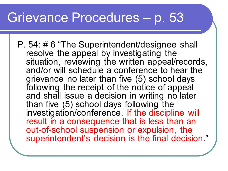 Grievance Procedures – p. 53 P.