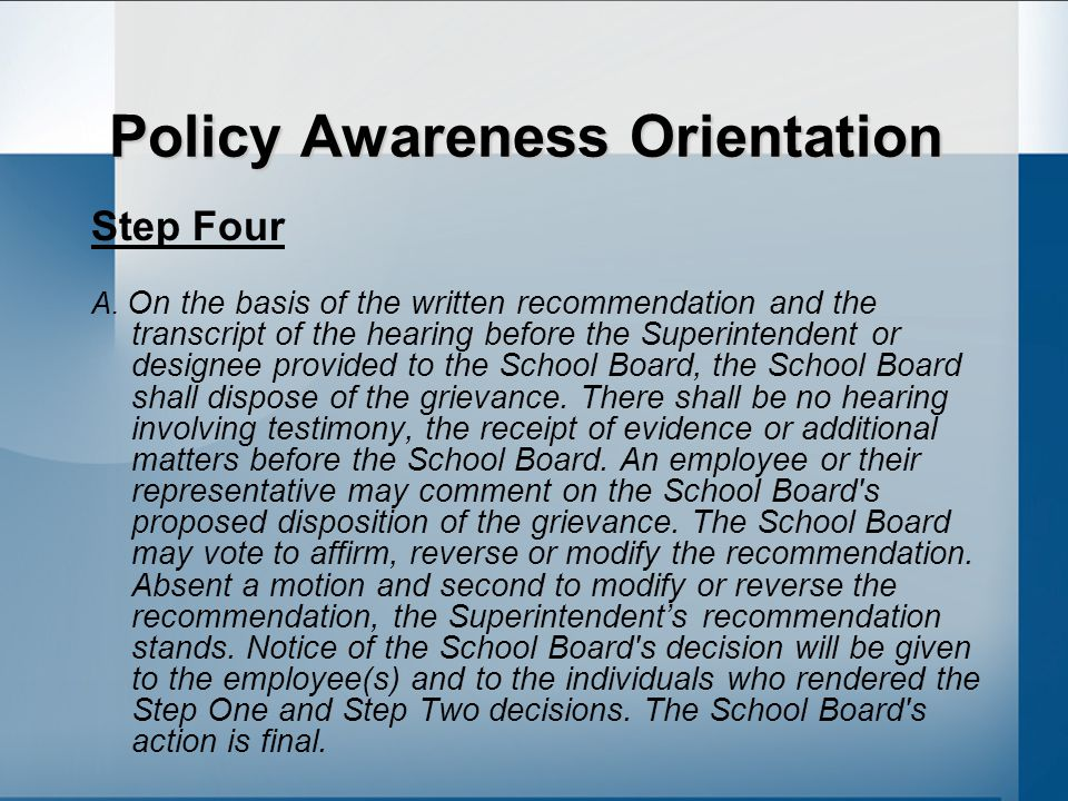 Policy Awareness Orientation Step Four A.