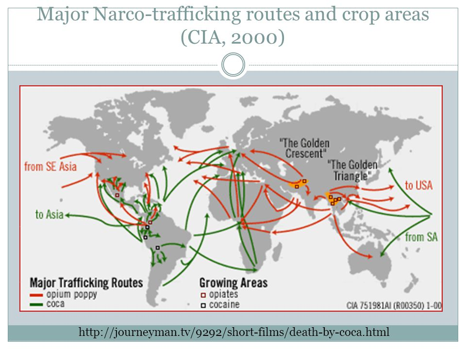 Major Narco-trafficking routes and crop areas (CIA, 2000) http://journeyman.tv/9292/short-films/death-by-coca.html