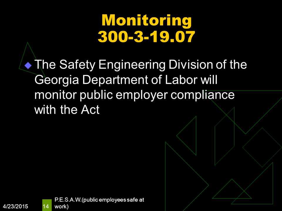 Monitoring 300-3-19.07  The Safety Engineering Division of the Georgia Department of Labor will monitor public employer compliance with the Act 4/23/
