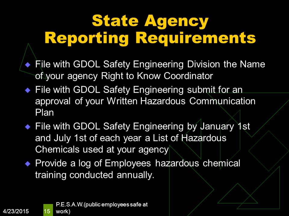 State Agency Reporting Requirements  File with GDOL Safety Engineering Division the Name of your agency Right to Know Coordinator  File with GDOL Sa