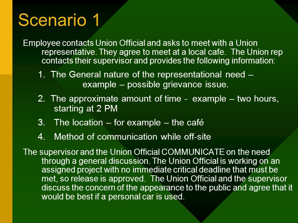 Scenario 1 Employee contacts Union Official and asks to meet with a Union representative.