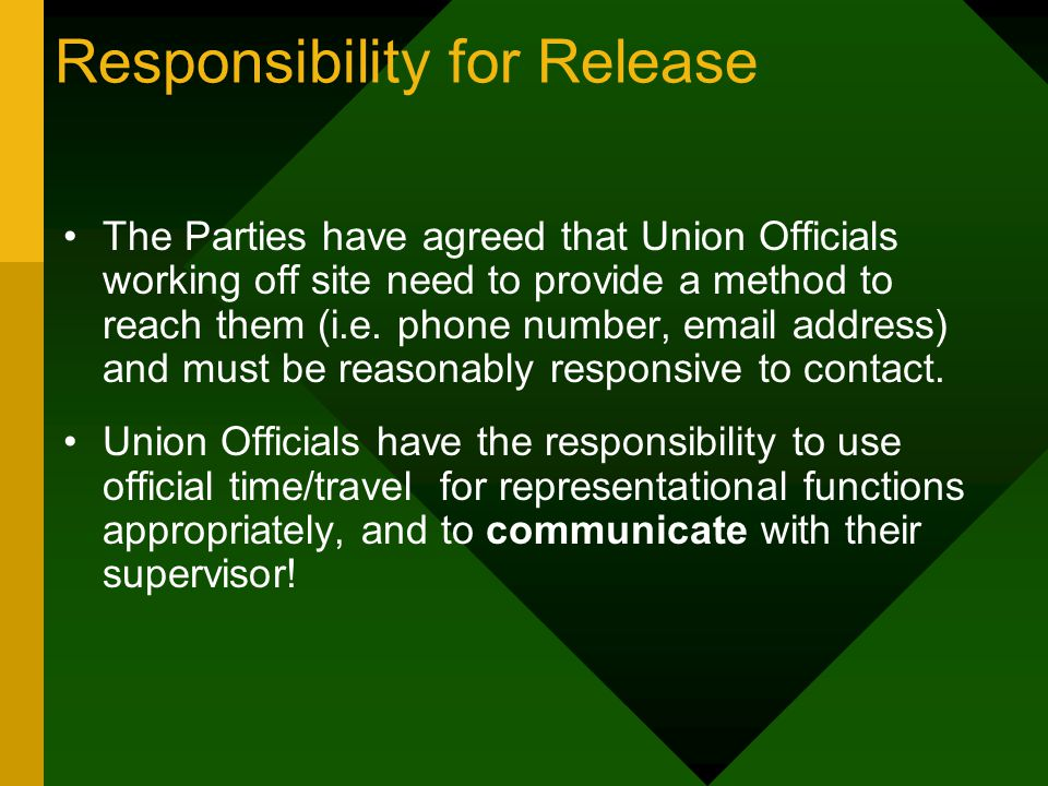 Responsibility for Release The Parties have agreed that Union Officials working off site need to provide a method to reach them (i.e.