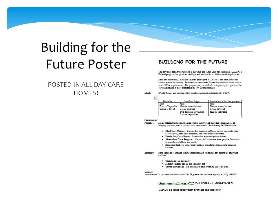 Building for the Future Poster POSTED IN ALL DAY CARE HOMES!