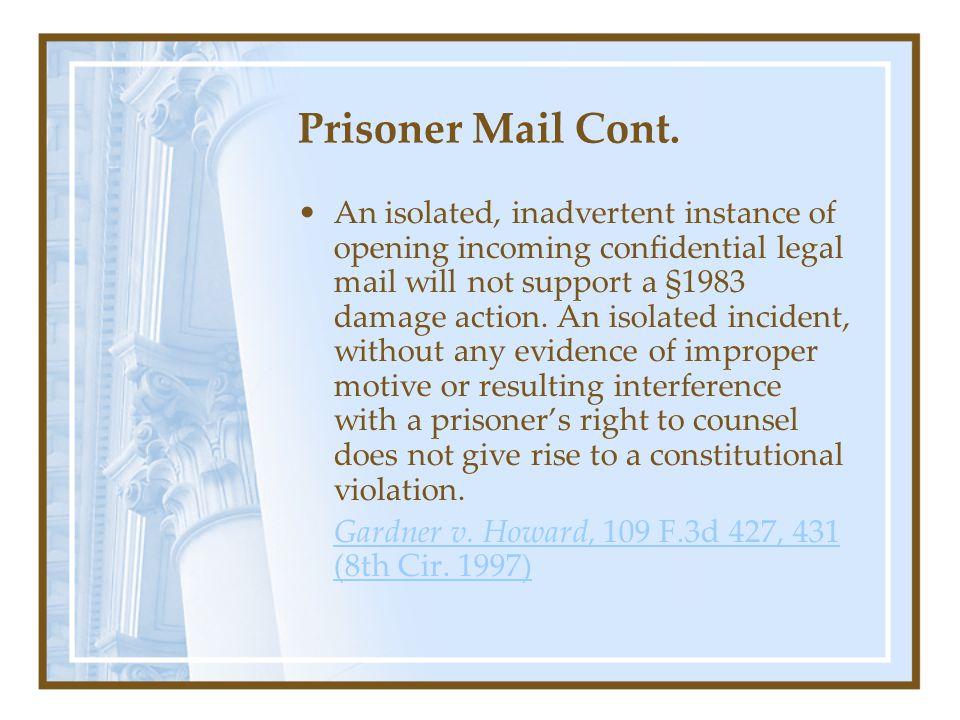 Prisoner Mail Cont.