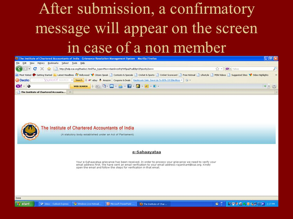 After submission, a confirmatory message will appear on the screen in case of a non member