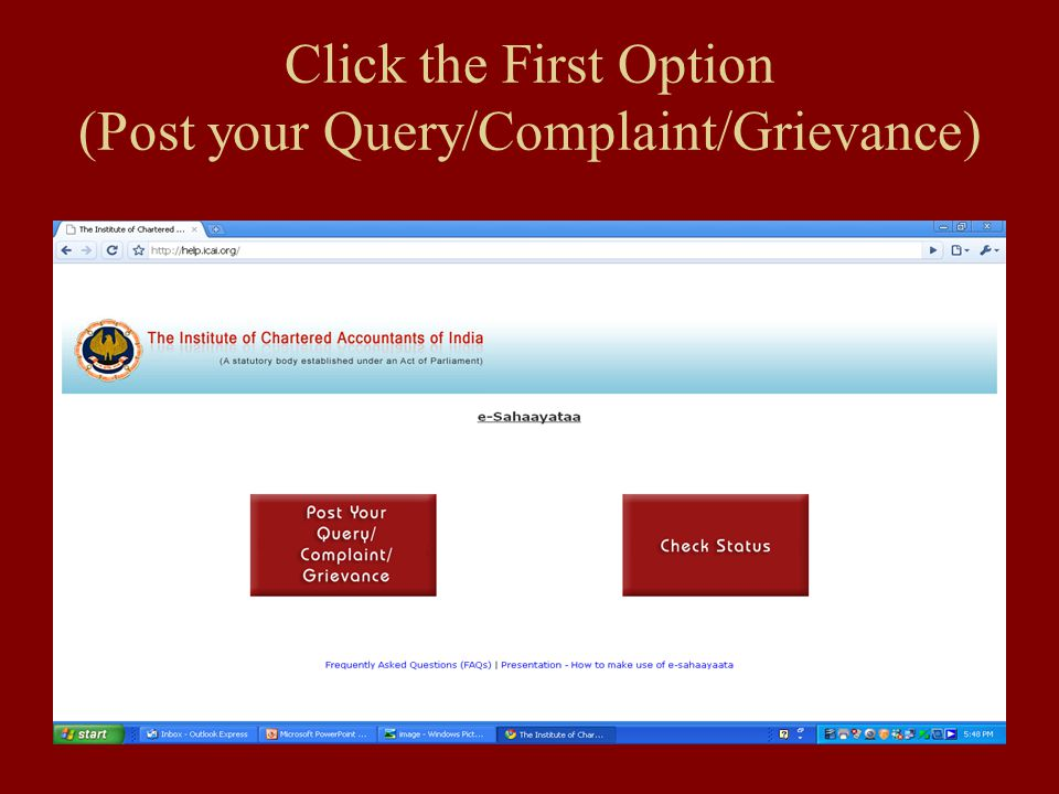 Click the First Option (Post your Query/Complaint/Grievance)