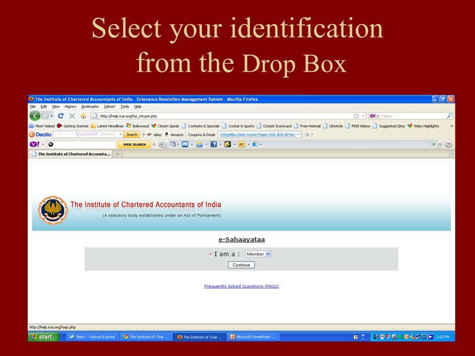 Select your identification from the Drop Box
