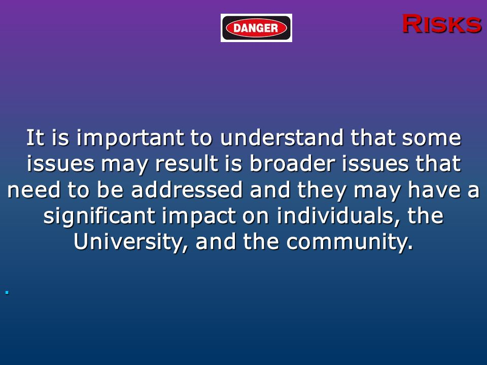 Risks It is important to understand that some issues may result is broader issues that need to be addressed and they may have a significant impact on individuals, the University, and the community.