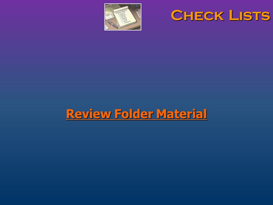 Check Lists Review Folder Material