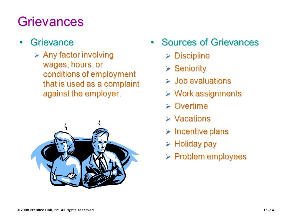 © 2008 Prentice Hall, Inc. All rights reserved.15–14 Grievances GrievanceGrievance  Any factor involving wages, hours, or conditions of employment th