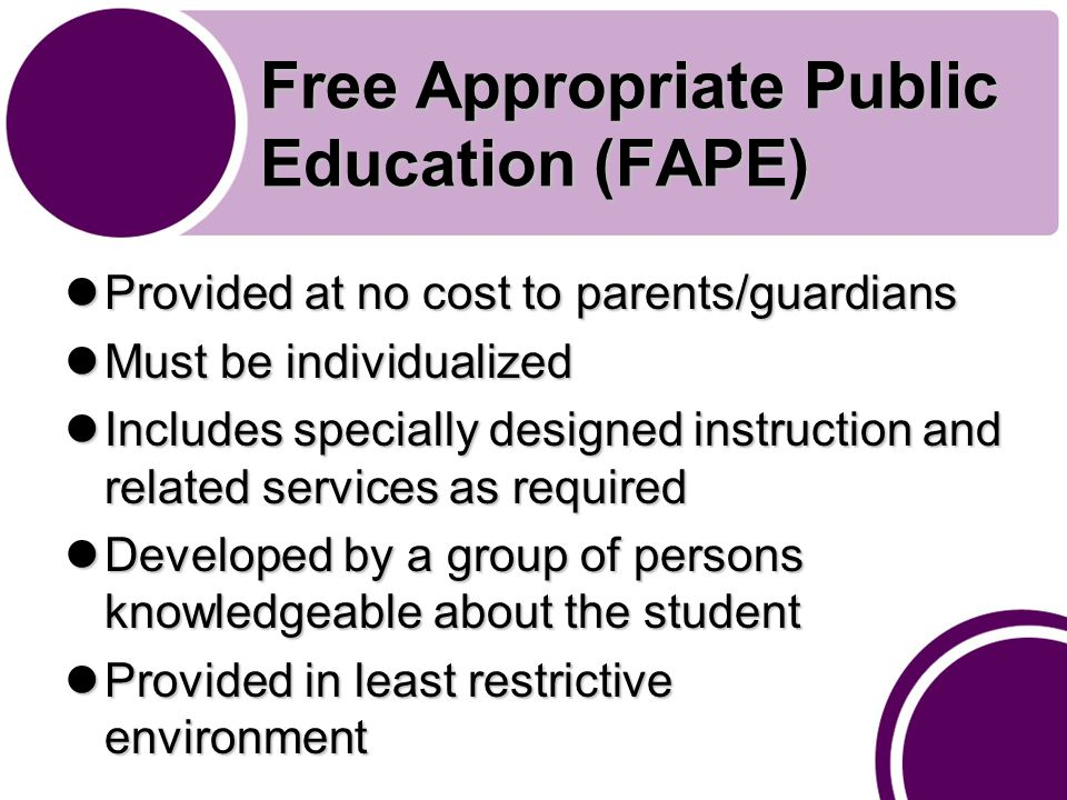 Free Appropriate Public Education (FAPE) Provided at no cost to parents/guardians Provided at no cost to parents/guardians Must be individualized Must be individualized Includes specially designed instruction and related services as required Includes specially designed instruction and related services as required Developed by a group of persons knowledgeable about the student Developed by a group of persons knowledgeable about the student Provided in least restrictive environment Provided in least restrictive environment