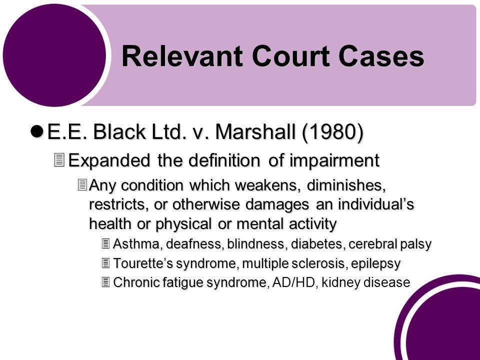 Relevant Court Cases E.E. Black Ltd. v. Marshall (1980) E.E.