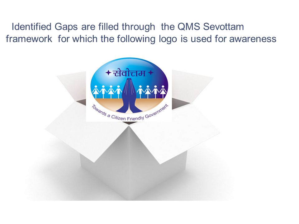 Identified Gaps are filled through the QMS Sevottam framework for which the following logo is used for awareness