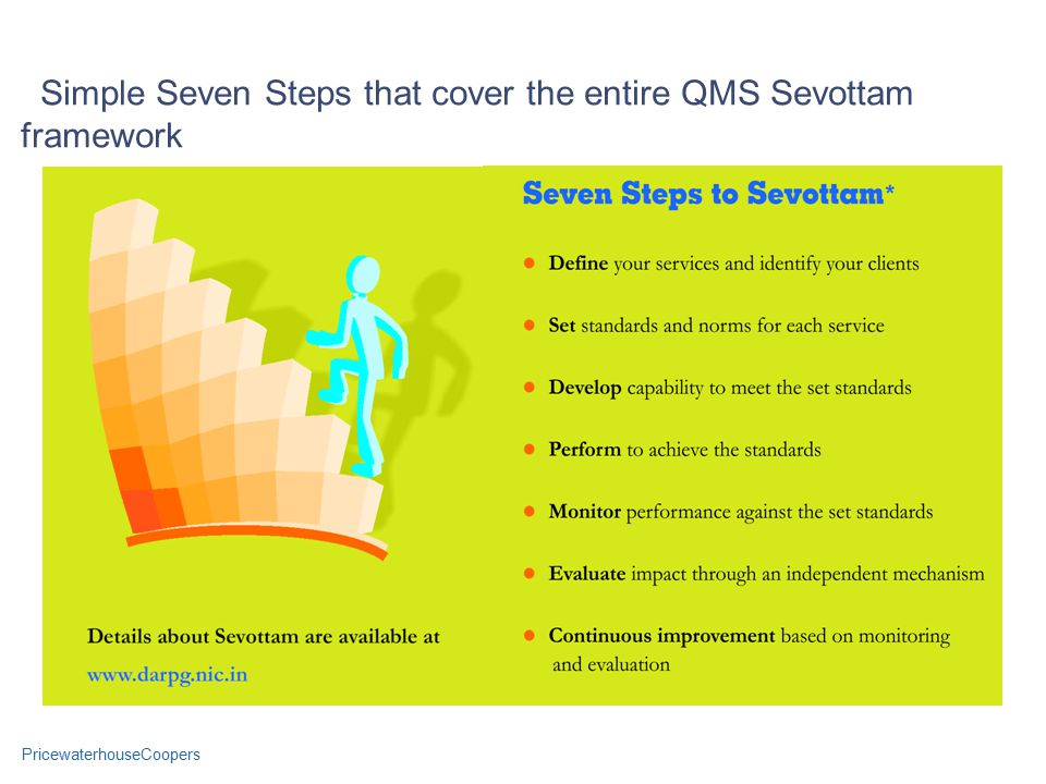 PricewaterhouseCoopers Simple Seven Steps that cover the entire QMS Sevottam framework