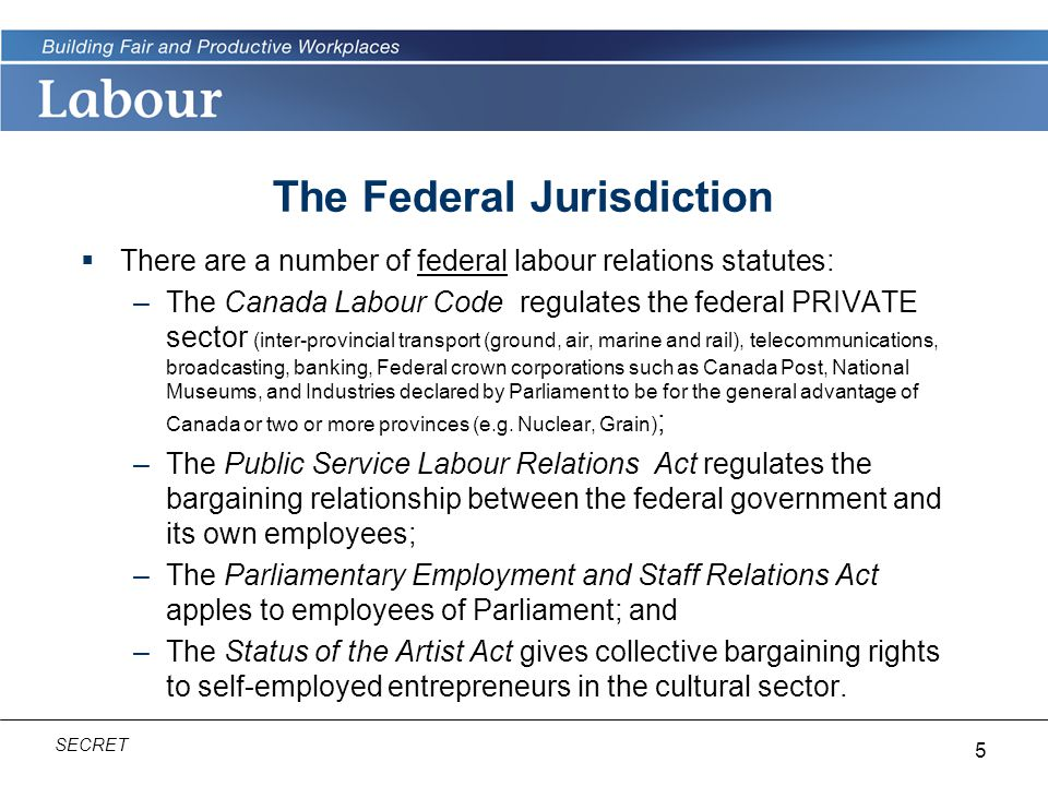 5 SECRET  There are a number of federal labour relations statutes: –The Canada Labour Code regulates the federal PRIVATE sector (inter-provincial transport (ground, air, marine and rail), telecommunications, broadcasting, banking, Federal crown corporations such as Canada Post, National Museums, and Industries declared by Parliament to be for the general advantage of Canada or two or more provinces (e.g.