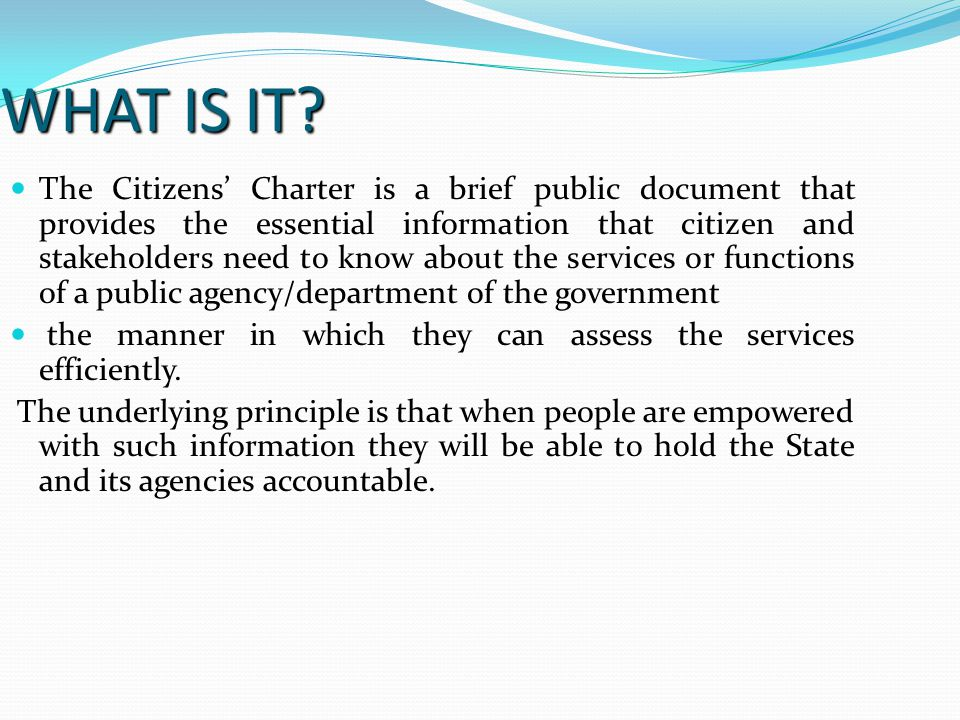PURPOSE OF THE CHARTER The purpose of the service charters is to continually improve the quality of public services for the people and other consumers of public services in Kenya.