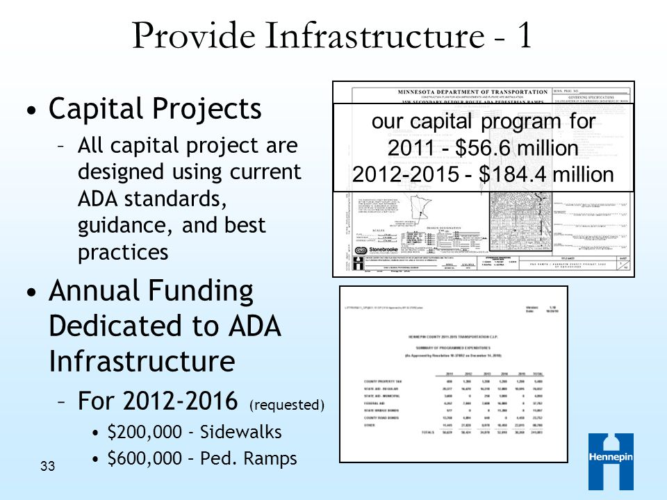33 Provide Infrastructure - 1 Capital Projects –All capital project are designed using current ADA standards, guidance, and best practices Annual Funding Dedicated to ADA Infrastructure –For 2012-2016 (requested) $200,000 - Sidewalks $600,000 – Ped.