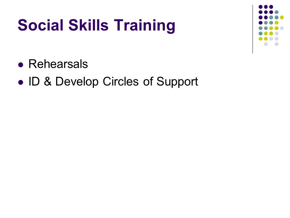 Social Skills Training Rehearsals ID & Develop Circles of Support