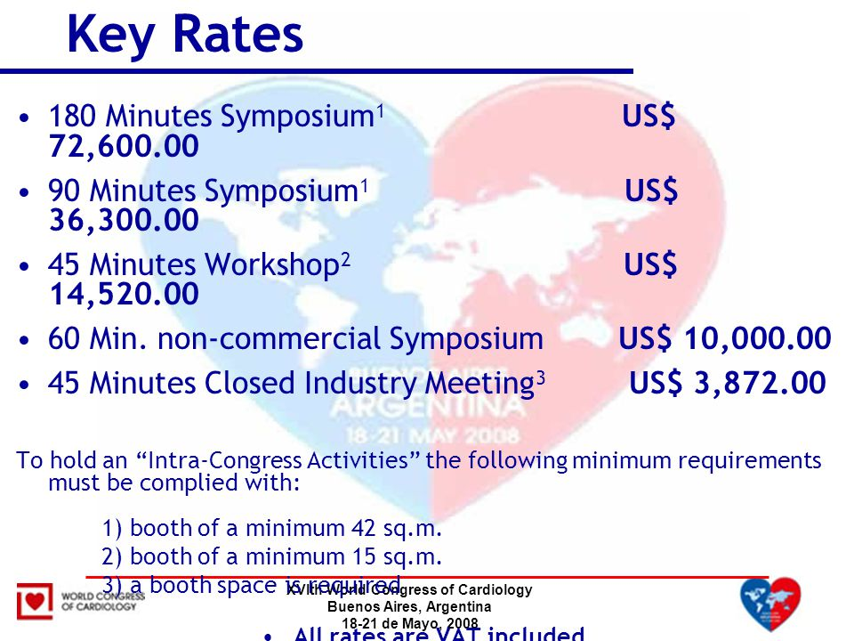 XVIth World Congress of Cardiology Buenos Aires, Argentina 18-21 de Mayo, 2008 180 Minutes Symposium 1 US$ 72,600.00 90 Minutes Symposium 1 US$ 36,300.00 45 Minutes Workshop 2 US$ 14,520.00 60 Min.