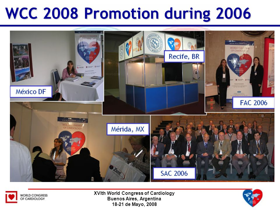 XVIth World Congress of Cardiology Buenos Aires, Argentina 18-21 de Mayo, 2008 WCC 2008 Promotion during 2006