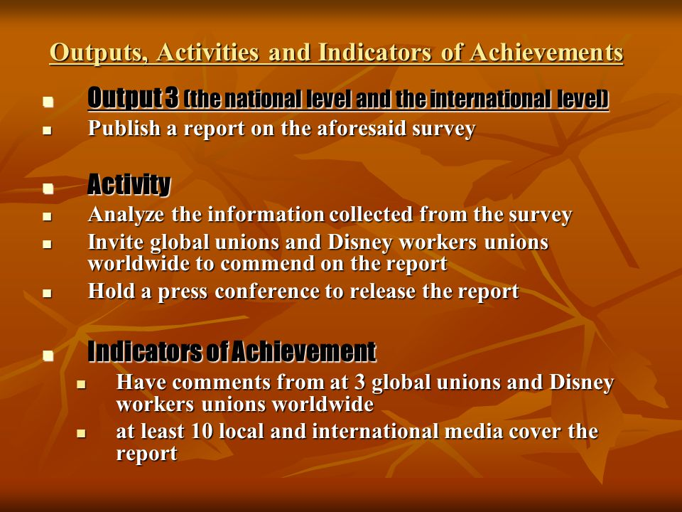 Outputs, Activities and Indicators of Achievements Output 3 (the national level and the international level) Output 3 (the national level and the inte