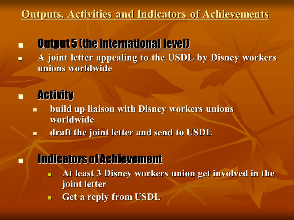 Outputs, Activities and Indicators of Achievements Output 5 (the international level) Output 5 (the international level) A joint letter appealing to t