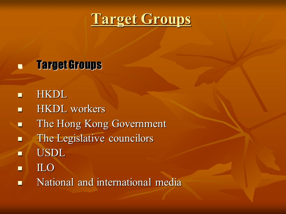 Target Groups Target Groups Target Groups HKDL HKDL HKDL workers HKDL workers The Hong Kong Government The Hong Kong Government The Legislative counci