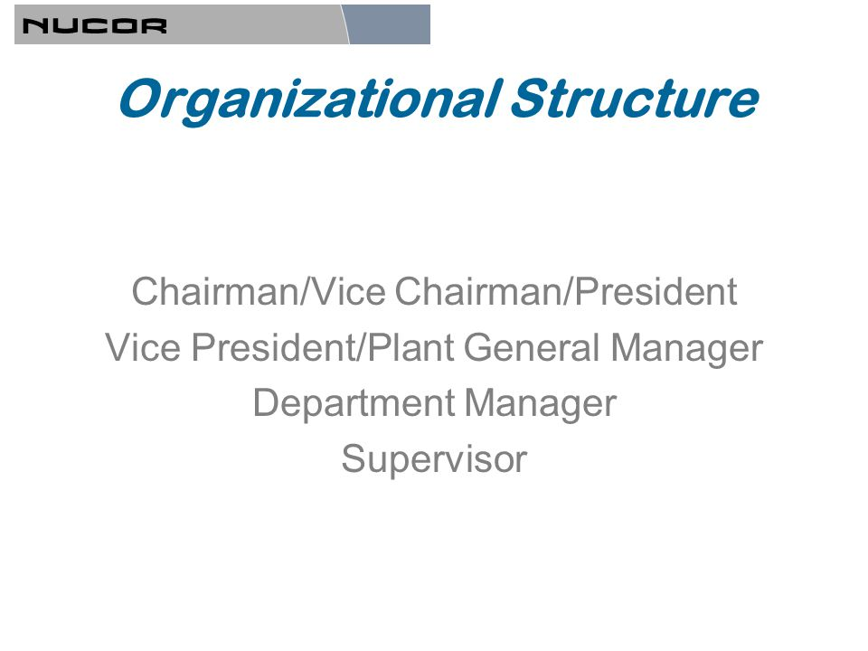 Organizational Structure Chairman/Vice Chairman/President Vice President/Plant General Manager Department Manager Supervisor