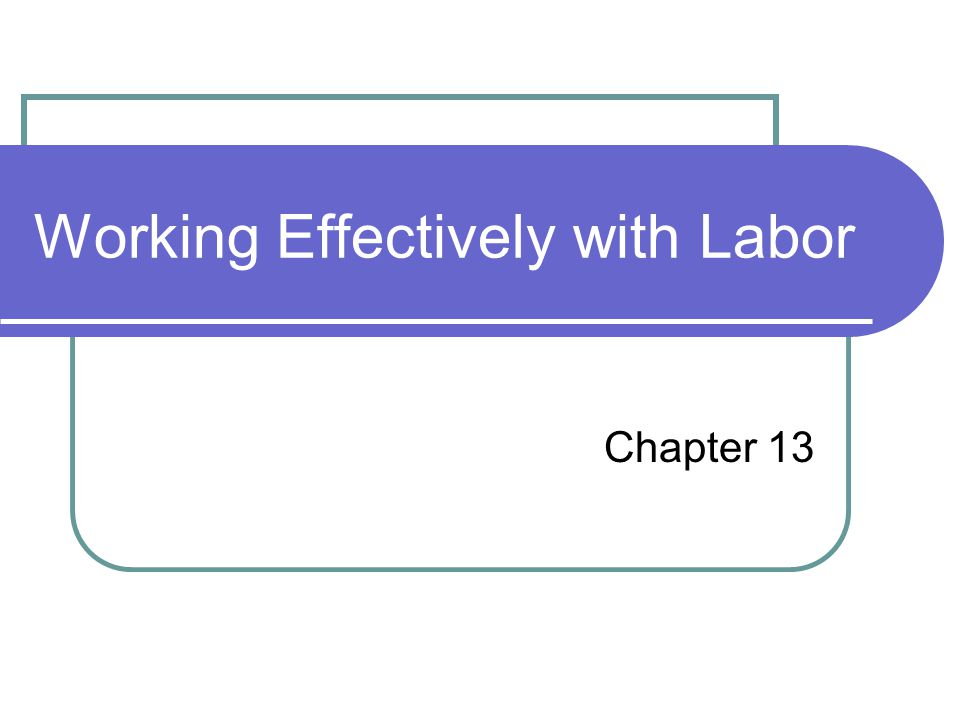Working Effectively with Labor Chapter 13
