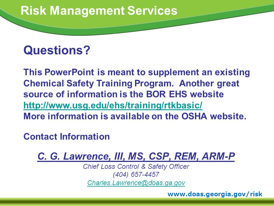 www.doas.georgia.gov/risk Risk Management Services Contact Information C.