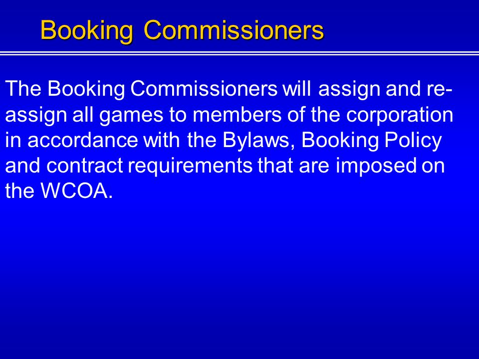 Booking Commissioners