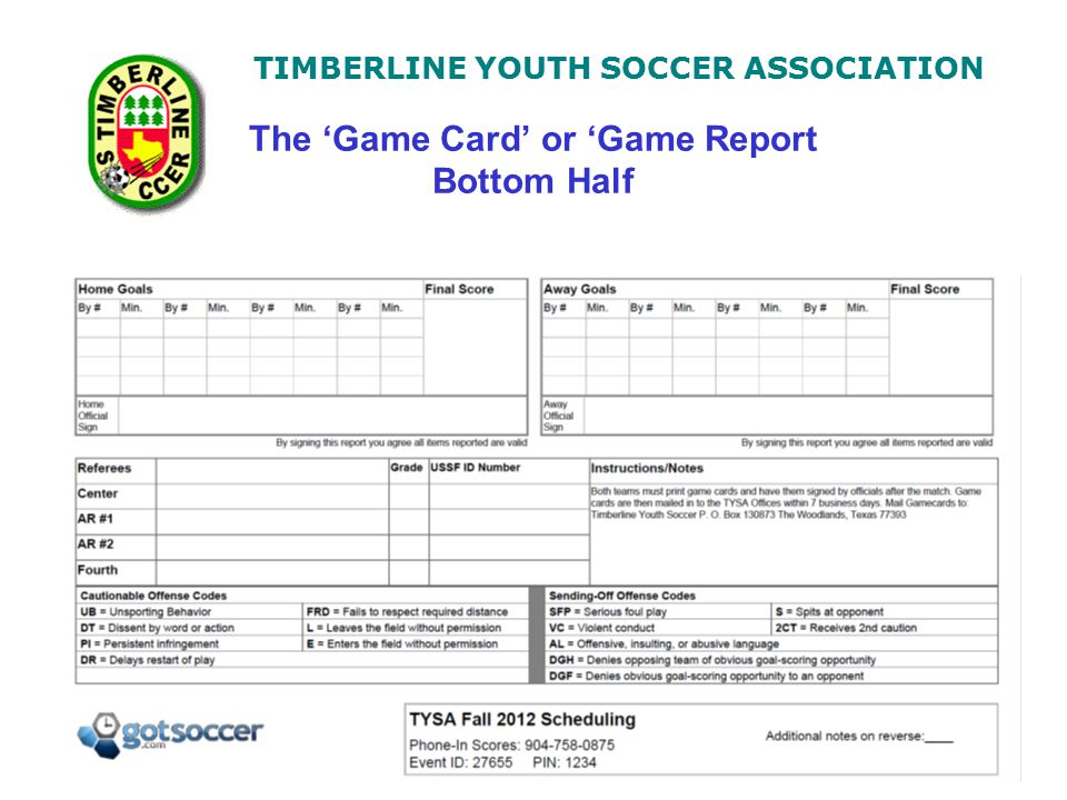 TIMBERLINE YOUTH SOCCER ASSOCIATION The 'Game Card' or 'Game Report Bottom Half