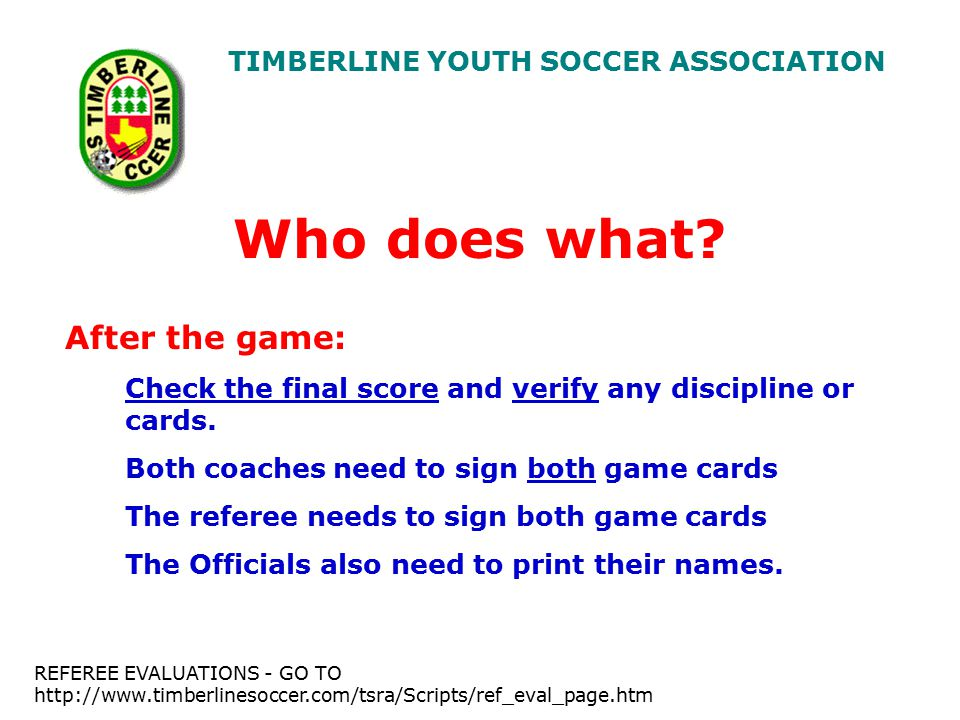 TIMBERLINE YOUTH SOCCER ASSOCIATION Who does what.