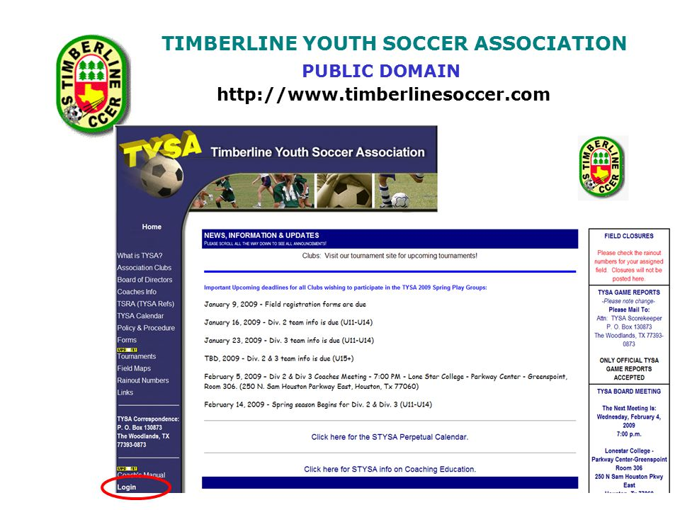 TIMBERLINE YOUTH SOCCER ASSOCIATION http://www.timberlinesoccer.com PUBLIC DOMAIN